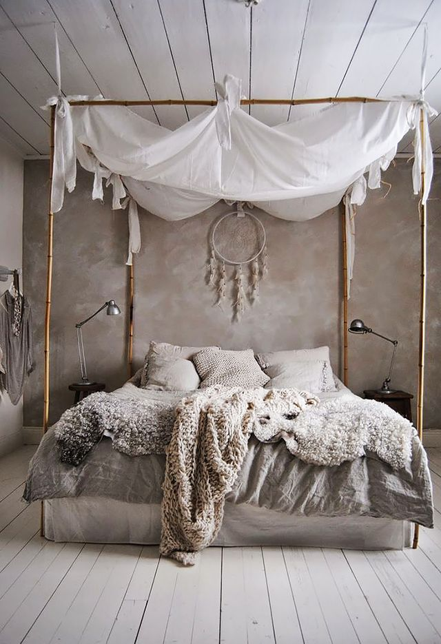 bohemian style room with dreamcatcher