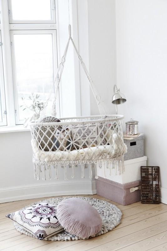 Macrame baby Hanging Crib