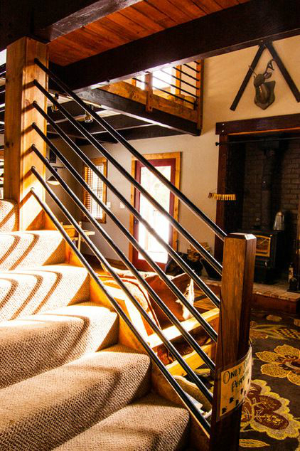 banisters with wood and gas pipe