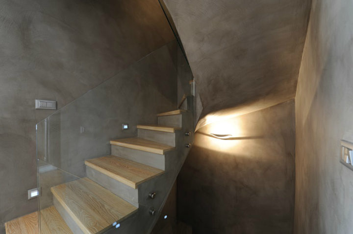 concrete interior stair rails
