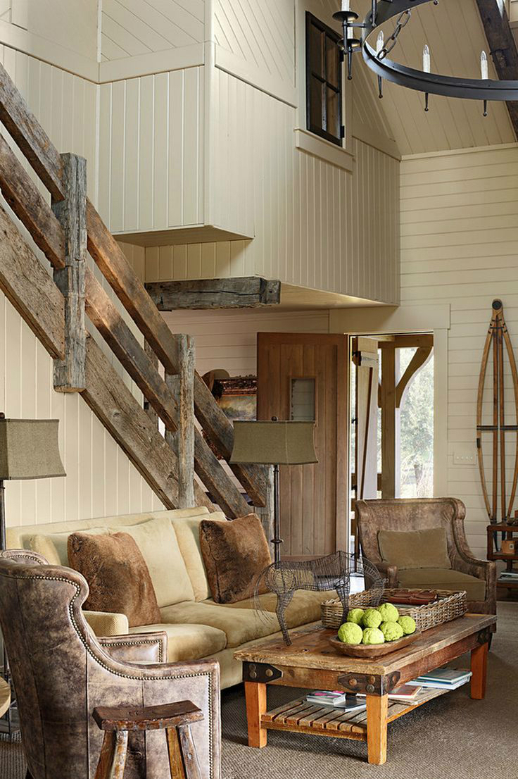 47 stair railing ideas decoholic for Rustic home decor and woodworking