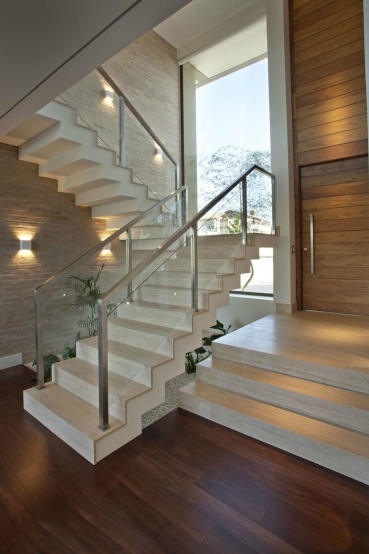 white stair rails with glass
