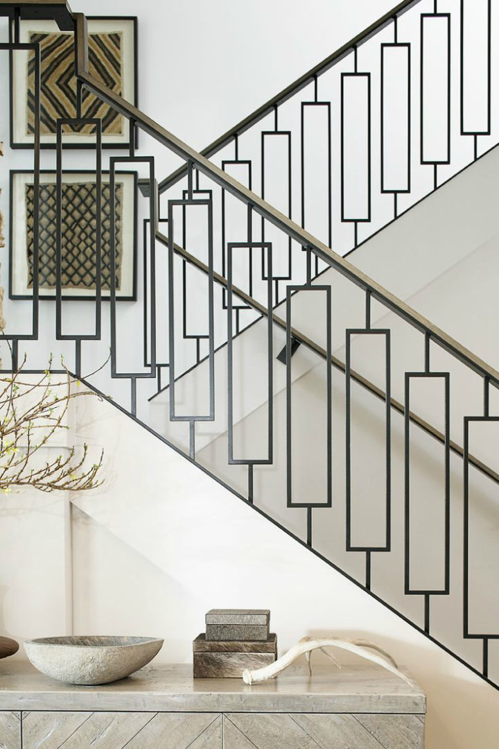 black and white stair rails
