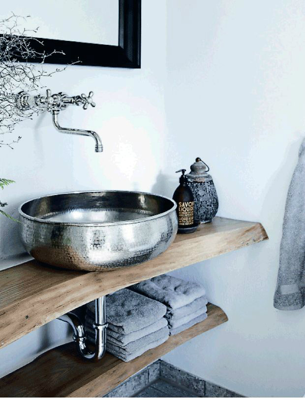 metal sink and towels