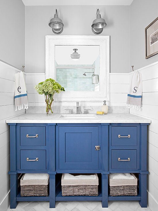 blue bathroom cabinets
