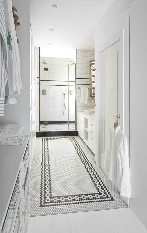 black-and-white-bathroom-with-walk-in-shower