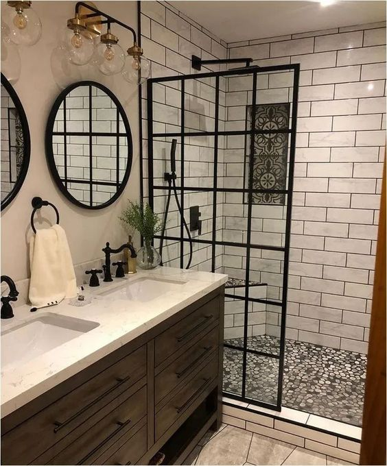 walk in shower black and white tiles design idea