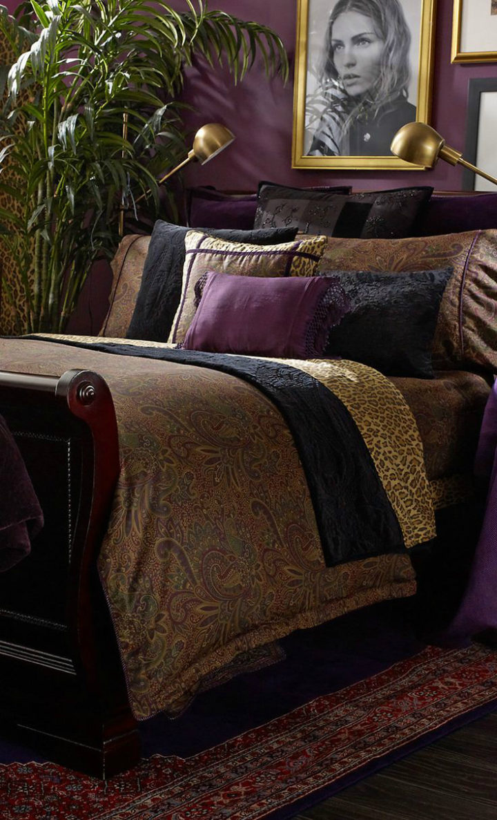 glam bedroom decor with purple details