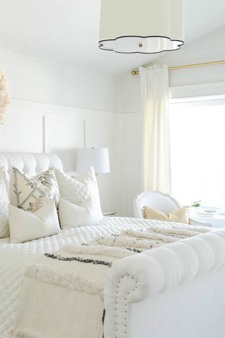 white bedroom with white walls
