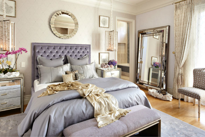 Glamorous Bedroom with grey blankets