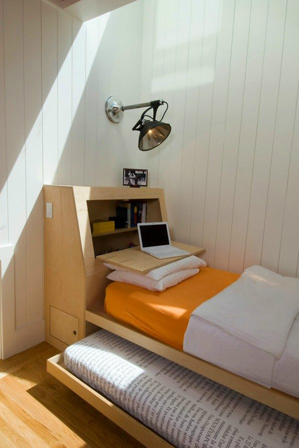 white room with bed and desk