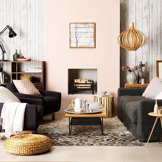 blush and black living room