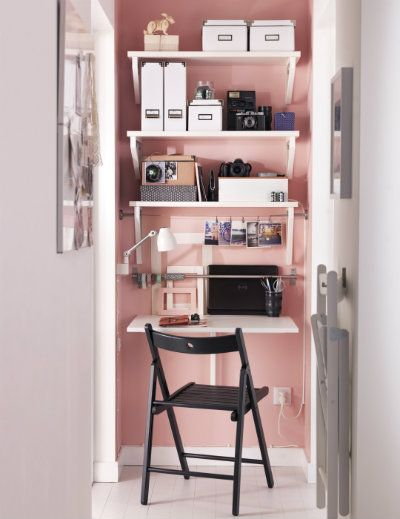 wall mounted desk with blush wall
