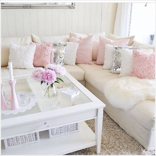 white with light pink and silver living room