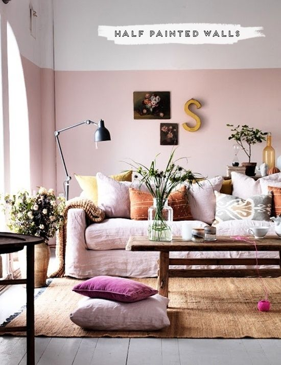 pink living room decor