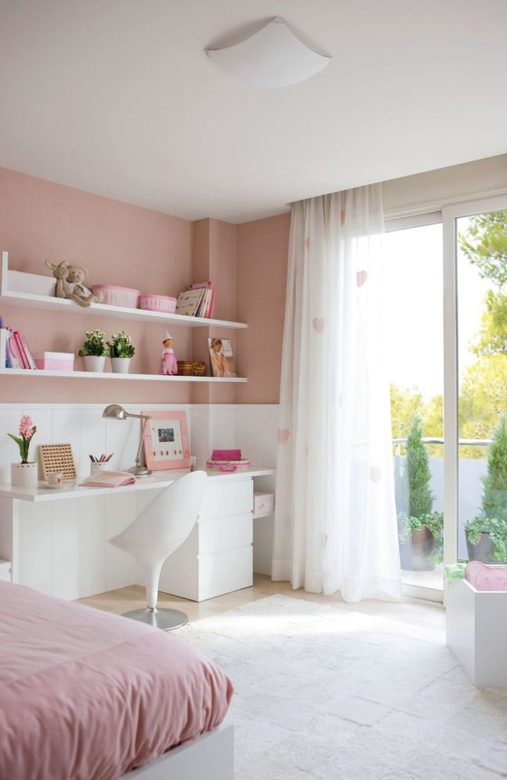 pink and white room for girls