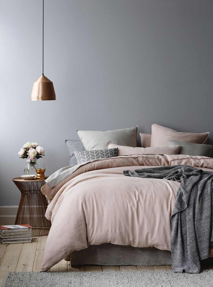Gray And Blush Pink Bedroom