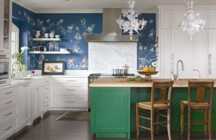blue and green cabinets