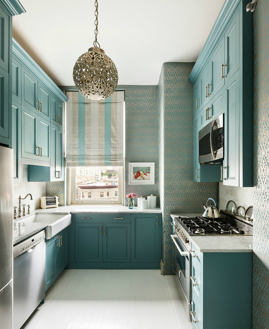 teal blue kitchen cabinets