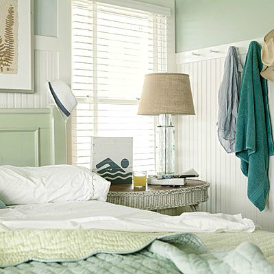 teal and white guest bedroom