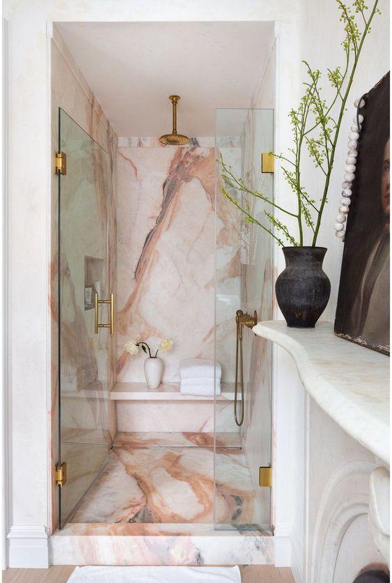 pink marble walk in shower design idea