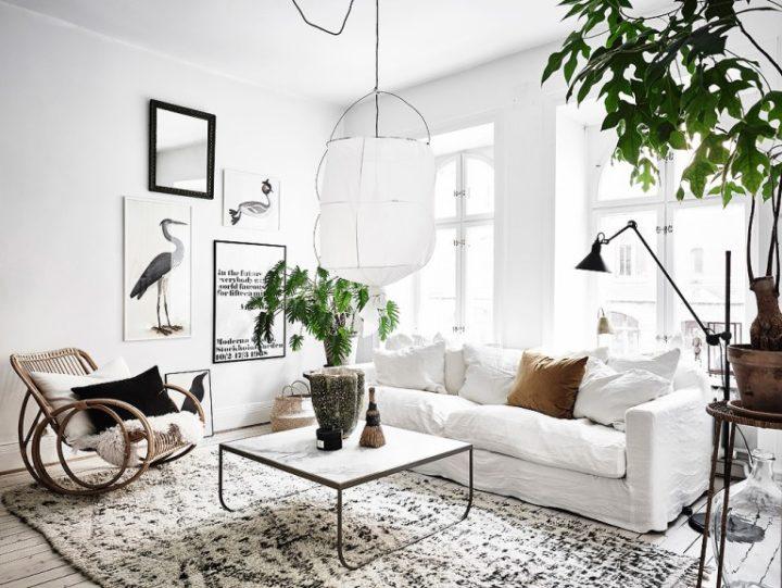 small white Scandinavian boho living room