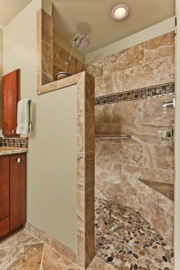 37 walk in showers that add a touch of class and boost for Open shower bathroom