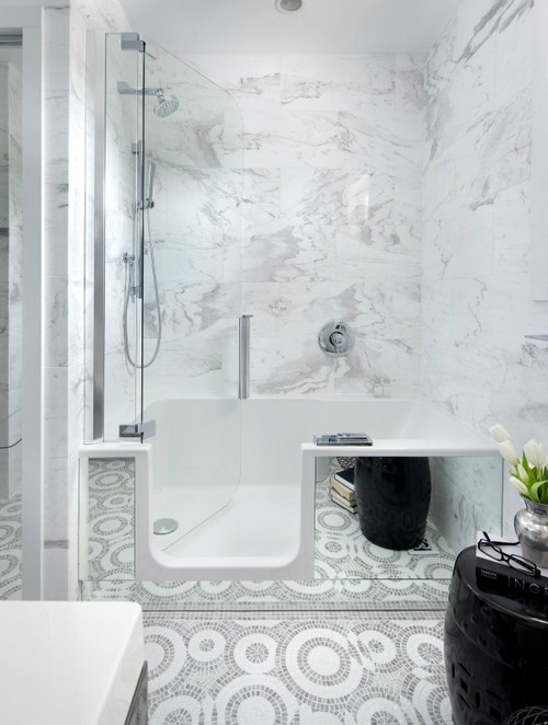 white and marble elements in bathroom