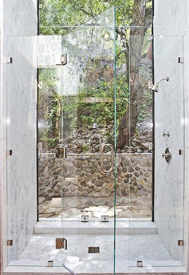 walk in shower with floor to ceiling Shower Door To Outside garden