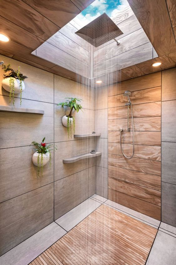 nature inspired walk in shower with shower inside skylight