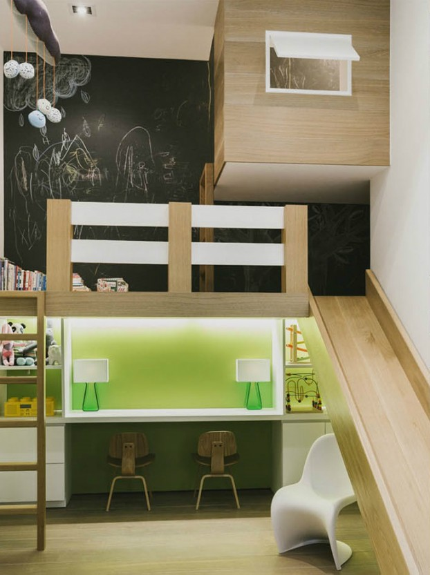 kids Loft with slide 2 desks and chalkboard