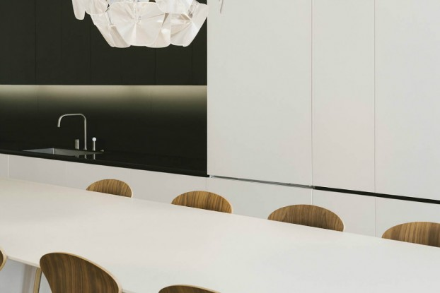 minimal black and white kitchen and dining by raad