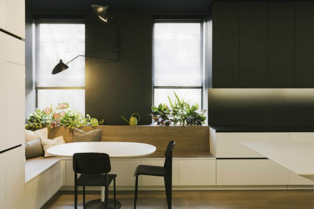 minimal black and white and oak kitchen by raad