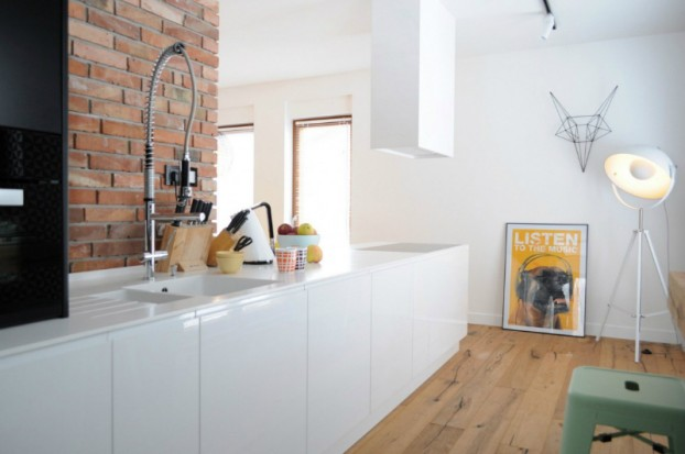 White Walls Antiqued Floorboards and Old Brick 10