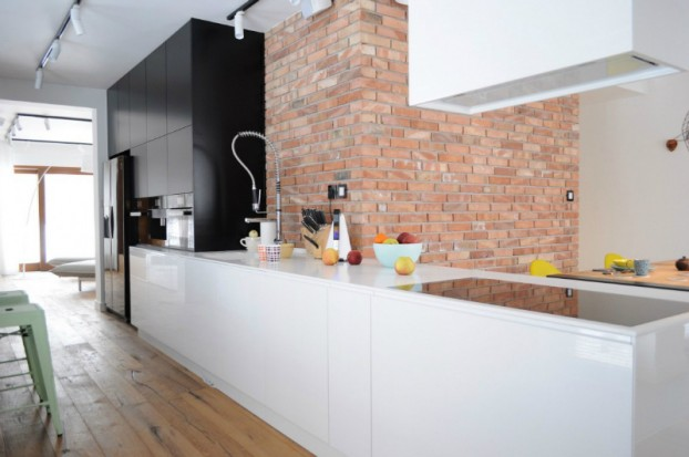 White Walls Antiqued Floorboards and Old Brick 13