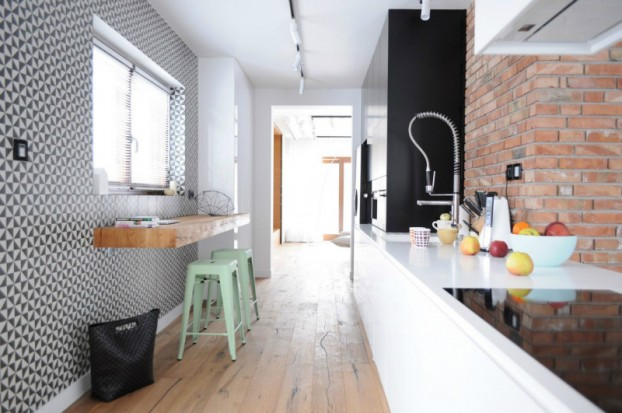White Walls Antiqued Floorboards and Old Brick 14