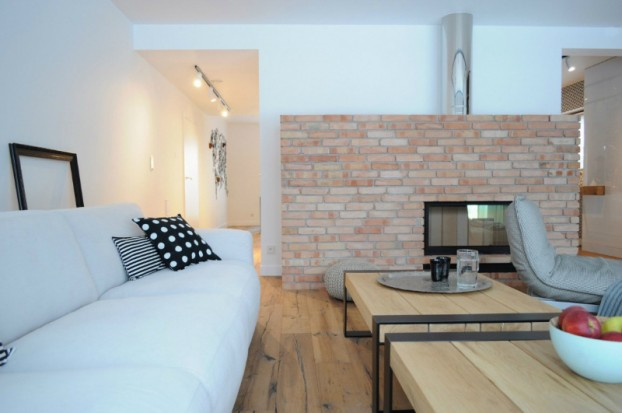 White Walls Antiqued Floorboards and Old Brick 2