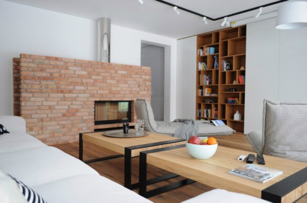 White Walls Antiqued Floorboards and Old Brick 3