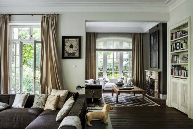 brown beige and silver elegant living room