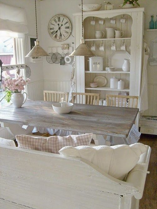 14 country dining room ideas decoholic for Table salle a manger shabby chic