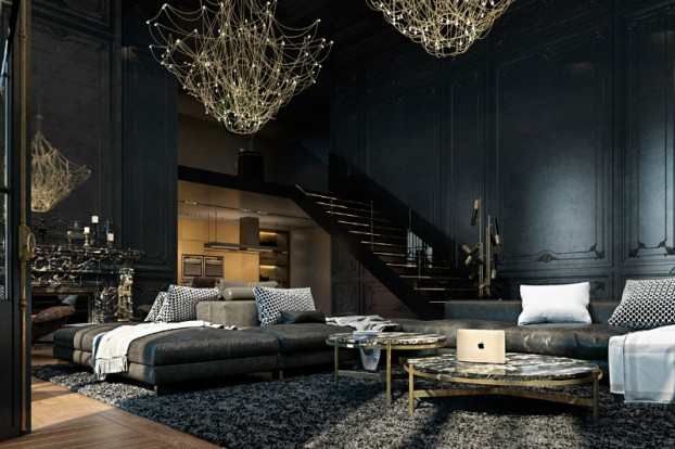 Dramatic interior In Paris