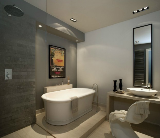italian gray bathroom with freestanding tub