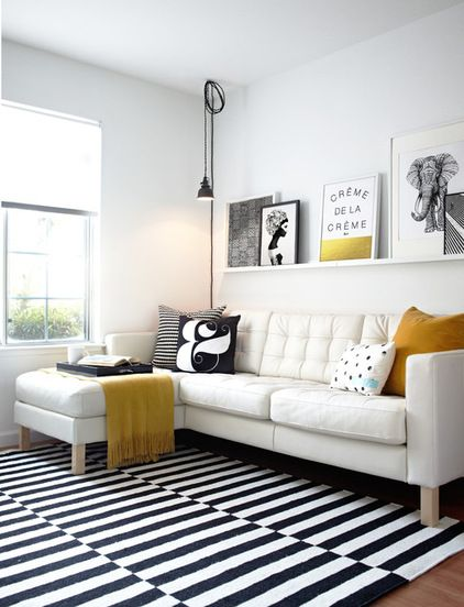 white and mustard modern living room