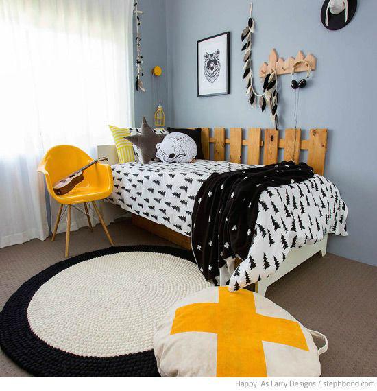 Gray with Yellow Boys' Room Idea