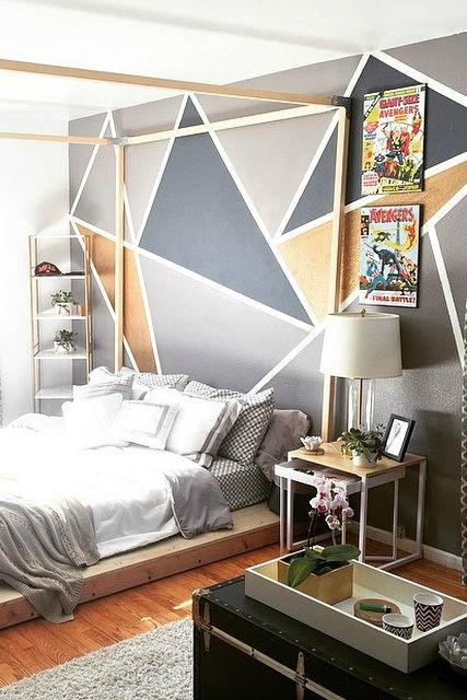 Geometric Grey Boys' Room Idea