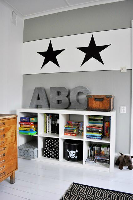 Gray Boys' Room Idea with library