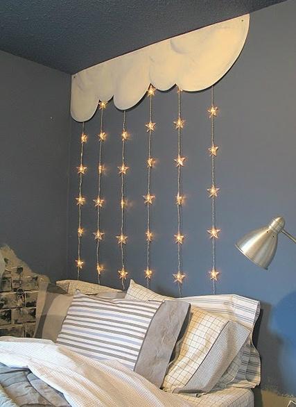 Gray Boys' Room Idea with Star Lights