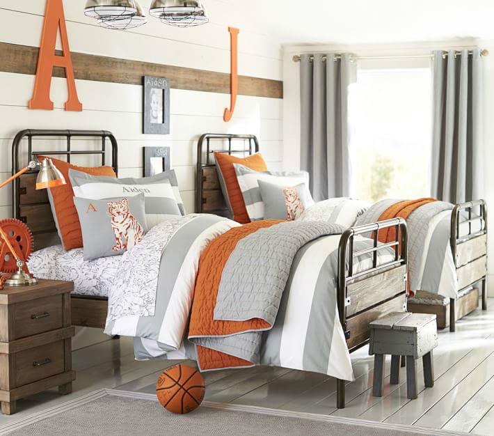 Gray and Orange Boys' Room Ideas