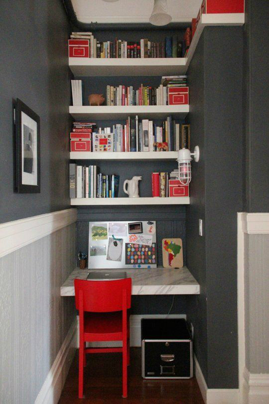 Gray Boys' Room Idea with desk and library