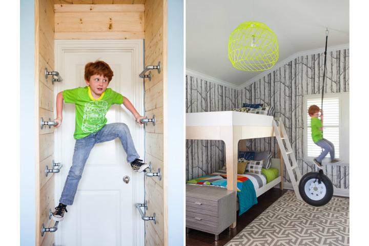 Gray Boys' Room Idea with Tree Wallpaper
